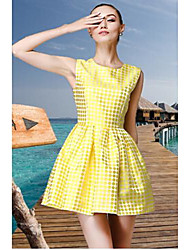 TS European Dot Pour Color Short Sleeves Woment's Organza Swing Dress