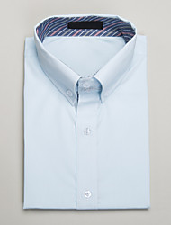Light Blue Cotton Tailored Fit Short Sleeve Shirt