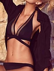 Women's Black Netty Trim Halter Bikini Swimsuit