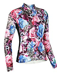 Arsuxeo Women's Rose Pattern Breathable Long Sleeve Cycling Jersey