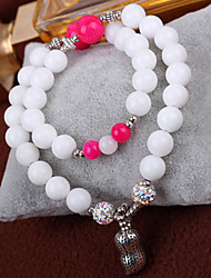 Surplus Saybot Brazilian Natural White Clam Pink Chalcedony Crystal Bracelet