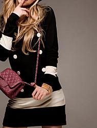 manches longues bali couleur de contraste de mode robe de loisirs de silm ronde