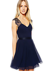 ousixiu blauen Chiffon sexy rückenfreies Kleid