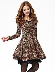 TS Print Floral Print Lace Hem A Line Dress