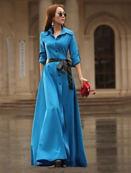 Women's Solid Maxi Dress with Belt,Long Sleeve
