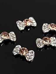 10pcs champagne arc cravate accessoires en alliage 3d strass pour le bout des doigts nail art décoration