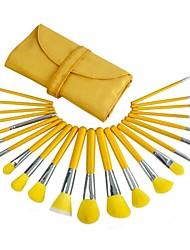 23pcs High Quality Professional Yellow Makeup Brush Set With Free Bag
