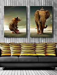 Stretched Canvas Art Bear And Elephant  Decoration  Set of 2