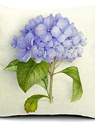 Country Light Purple Flower Cotton/Linen Decorative Pillow Cover
