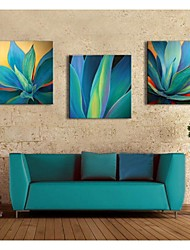 Personalized Canvas Print Blue Leaves 30x30cm  40x40cm  60x60cm  Gallery Wrapped Art Set of 3