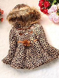 Girl's Animal Print Down & Cotton Padded Fur Winter