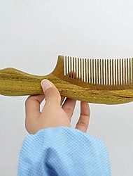 Elegant 20x5.5cm Brazil imported Green Sandalwood Wooden Comb With Carving