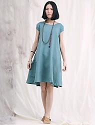 De las mujeres Vestido Vintage / Casual Midi Lino