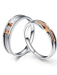 I FREE®S925 Silver Mosaic Diamond And Platinum Plated Rose Color Couple Rings 2 pcs Promis rings for couples