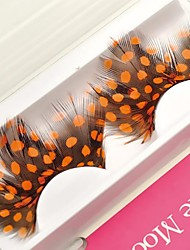 1 Pair Orange Spots 100% Handmade Feather with Plastic Black Terrier False Eyelashes