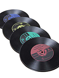 Set of 2 Vinyl Record Design Skidproof Plastic Coasters,Random Color