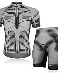 XINTOWN Men's Bat Quick Dry Moisture Absorption Short Sleeve Cycling Suit—Grey+Black