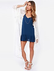 Sexy lace shirt tassels loose horn sleeve openwork cardigan see-through dress