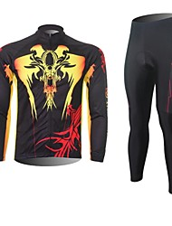 XINTOWN Men's Devil Quick Dry Moisture Absorption Long Sleeve Cycling Suit—Yellow+Black