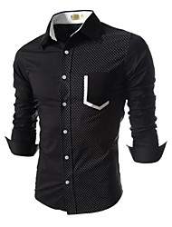 Mens Slim Fit Long Sleeve 2 Tone Stretchy Pocket Shirts