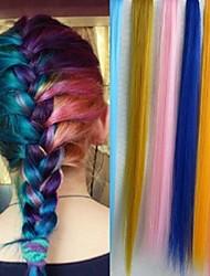 20 15pcs pouces / lot longue couleur pure synthétique pince droite en extensions de cheveux couleurs aléatoires