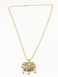 Fashion Women's Gold Lock Diamond Pendant Gold Plated Nacklace