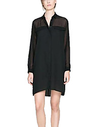 Women's Solid Black Dress , Sexy/Casual/Party/Work Shirt Collar Long Sleeve Mesh