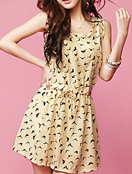 BALI Fashion Polka Dots Sleevless Animal Print Swing Dress