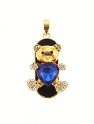 zp Ruby Blue padrão de urso 64gb usb flash drive estilo de metal do diamante de Bling