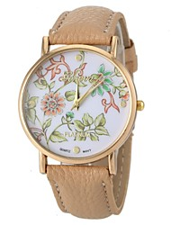 Women's Fashion Style Flower Pattern PU Band Quartz Wrist Watch  Cool Watches Unique Watches