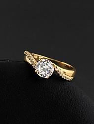 mode conception simple anneau de zircon en or 18 carats des femmes