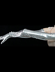 Future Soldier Silver Shiny Metallic Shoulder Length Gloves(2 Pieces)