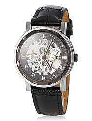 Men's Auto-Mechanical Vintage Hollow Engraving Dial Black Leather Band Wrist Watch Cool Watch Unique Watch