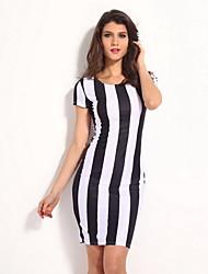 Negro clásico de la mujer blanca de las rayas verticales Midi Vestido