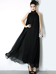 Women's Elegant Solid Maxi Dress with Belt
