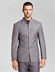 Suits Tailored Fit Polyester 2 Pieces Gray Straight Piped None (Flat Front) None (Flat Front)