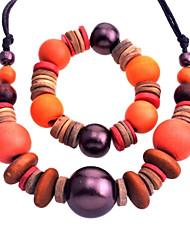 collar de estilo lureme®national vendimia grande de madera del grano y traje de pulsera