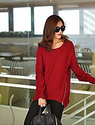 Women's Round Long Sleeve Loose Knitwear Pullover Sweater