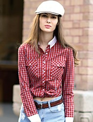 Veri Gude® Women's Turn-Down Collar Slim Fit Plaid Shirt
