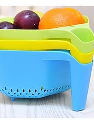 Küche Platz Ausfüllkästchen Drain Korb mit Obst-und Gemüsekorb (zufällige Farbe)