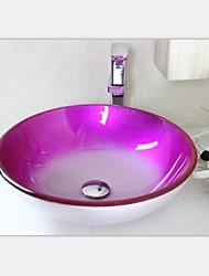 moderne rosig edgetempered Waschbecken aus Glas mit Wasserhahn Set