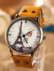 Mulheres Relógio de Moda Quartzo PU Banda Torre Eiffel Padrão Mapa do Mundo Azul Amarelo Laranja Amarelo Azul