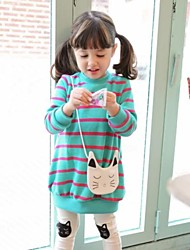 Girls' New Style Lovely Stripe with Kitty Bag Cotton Sweatshirts