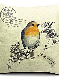 Country Bird Cotton/Linen Decorative Pillow Cover