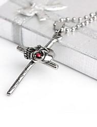 Men's Fashion Personality Titanium Steel Skull Cross Pendant Necklaces