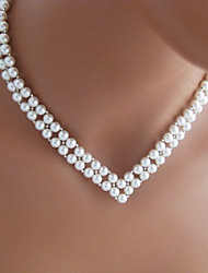 Shixin® Vintage V Shape Wedding White Pearl Necklace(1 Pc)