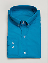 Blue Cotton Tailored Fit Long Sleeve Shirt