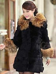XT Mid Long Fur Coat_73 (Black)