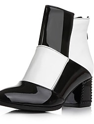 Women's Shoes Round Toe Chunky Heel Patent Leather Ankle Boots with Zipper More Colors available