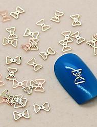 200pcs linda gravata borboleta oco metal dourado arte fatia decoração de unhas